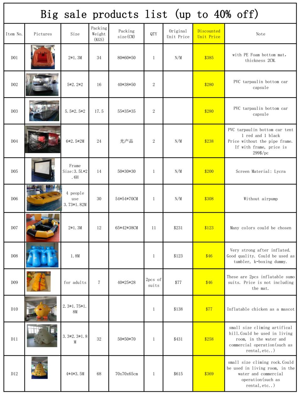 big discount inflatables from XiangHuiHe