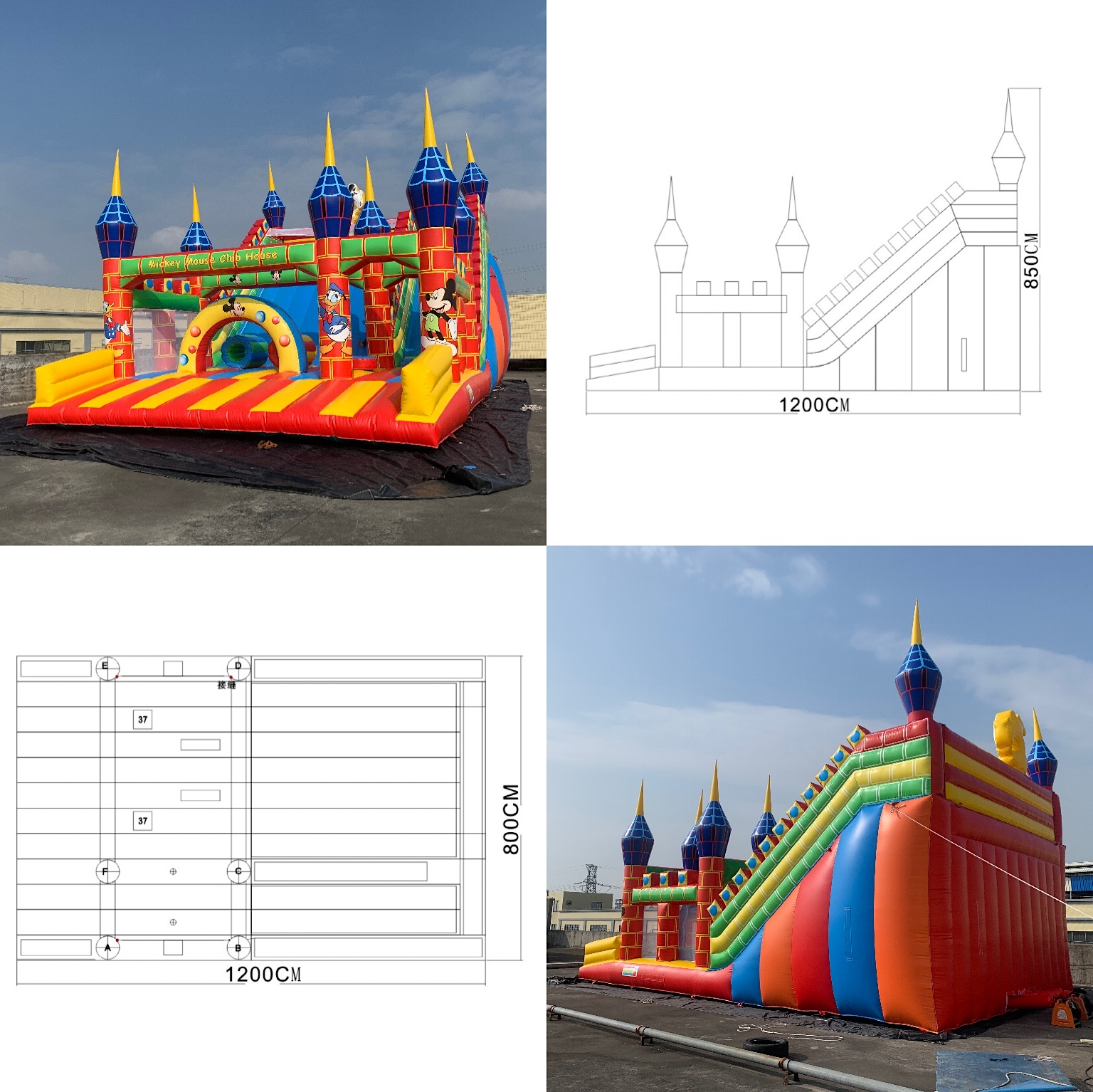 Inflatable castle slide-Mickey